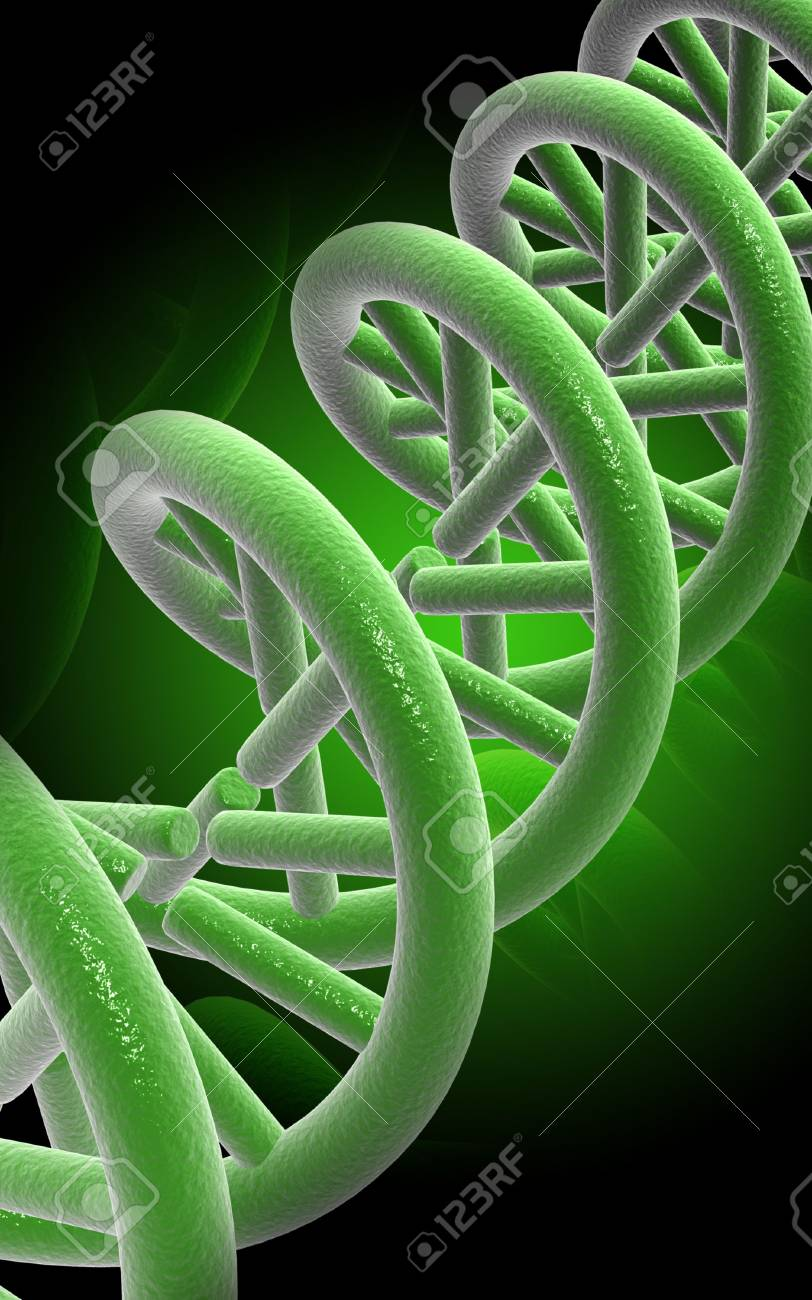 Digital illustration DNA structure  in colour background Stock Illustration - 5388527