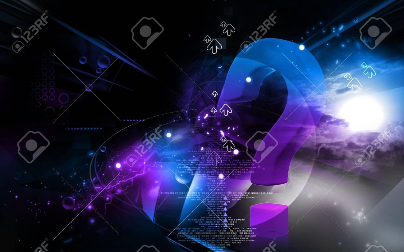 Digital illustration of question mark sign in colour background Stock Illustration - 5786592