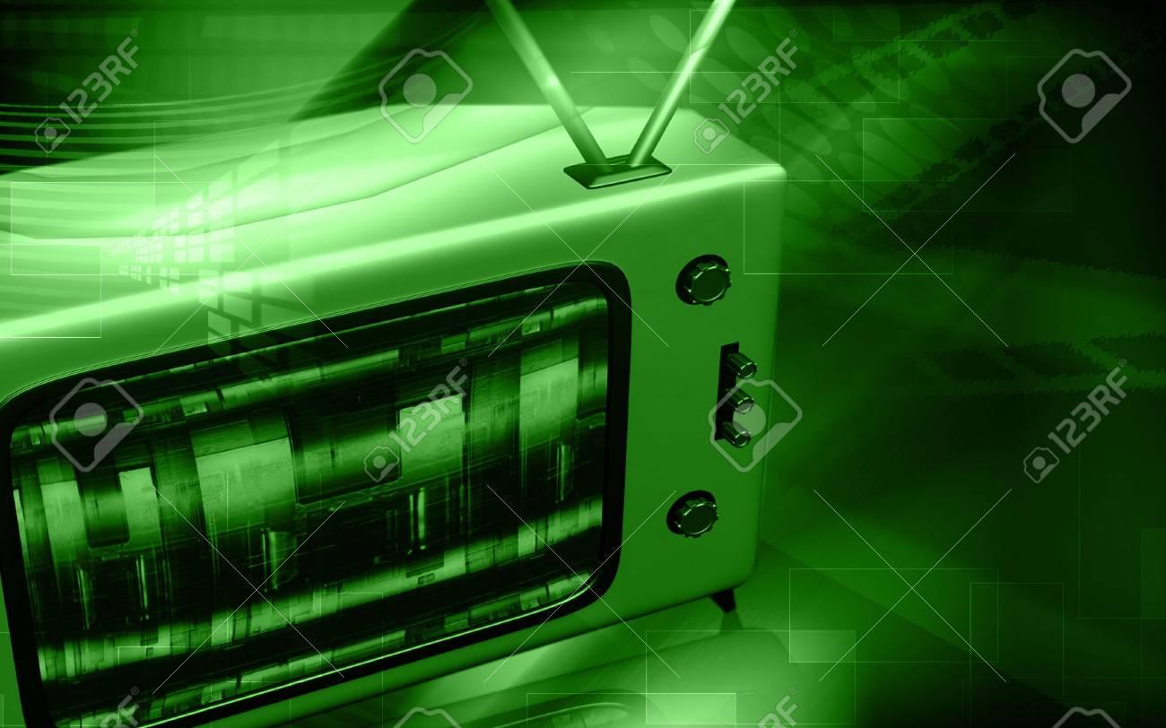 Digital illustration of a television monitor in light Stock Illustration - 6100309