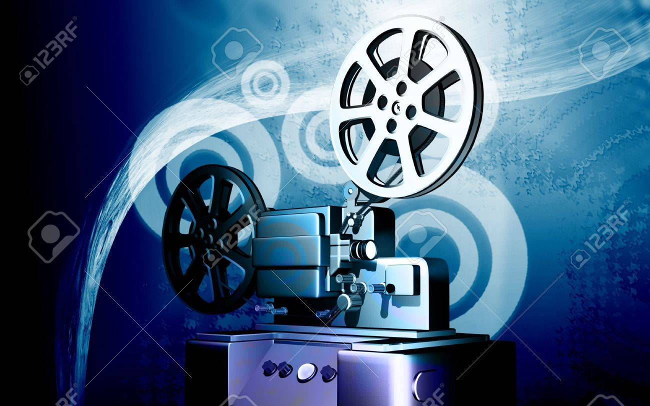 Digital illustration of vintage projector in colour background Stock Photo - 6324769