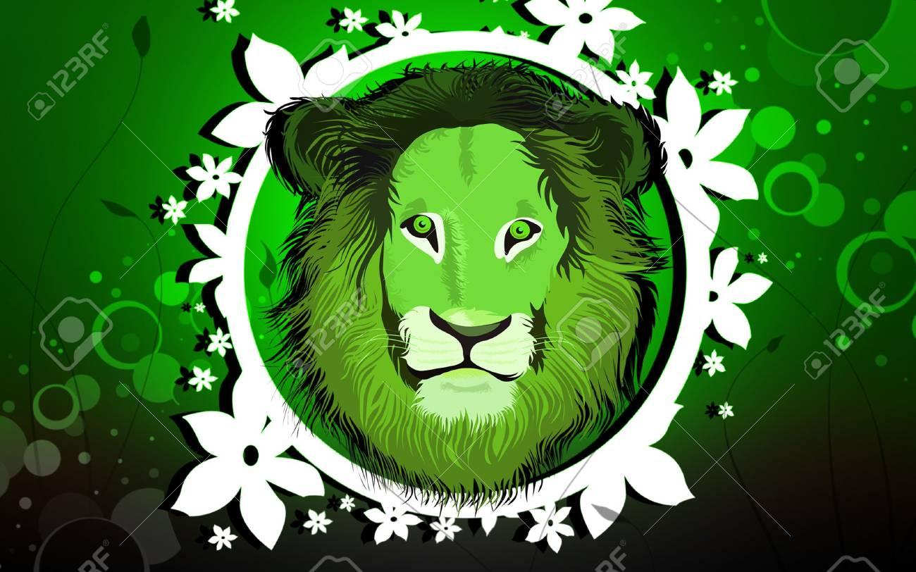 Illustration of a lion in detail, portrait of a lion Stock Illustration - 6325100