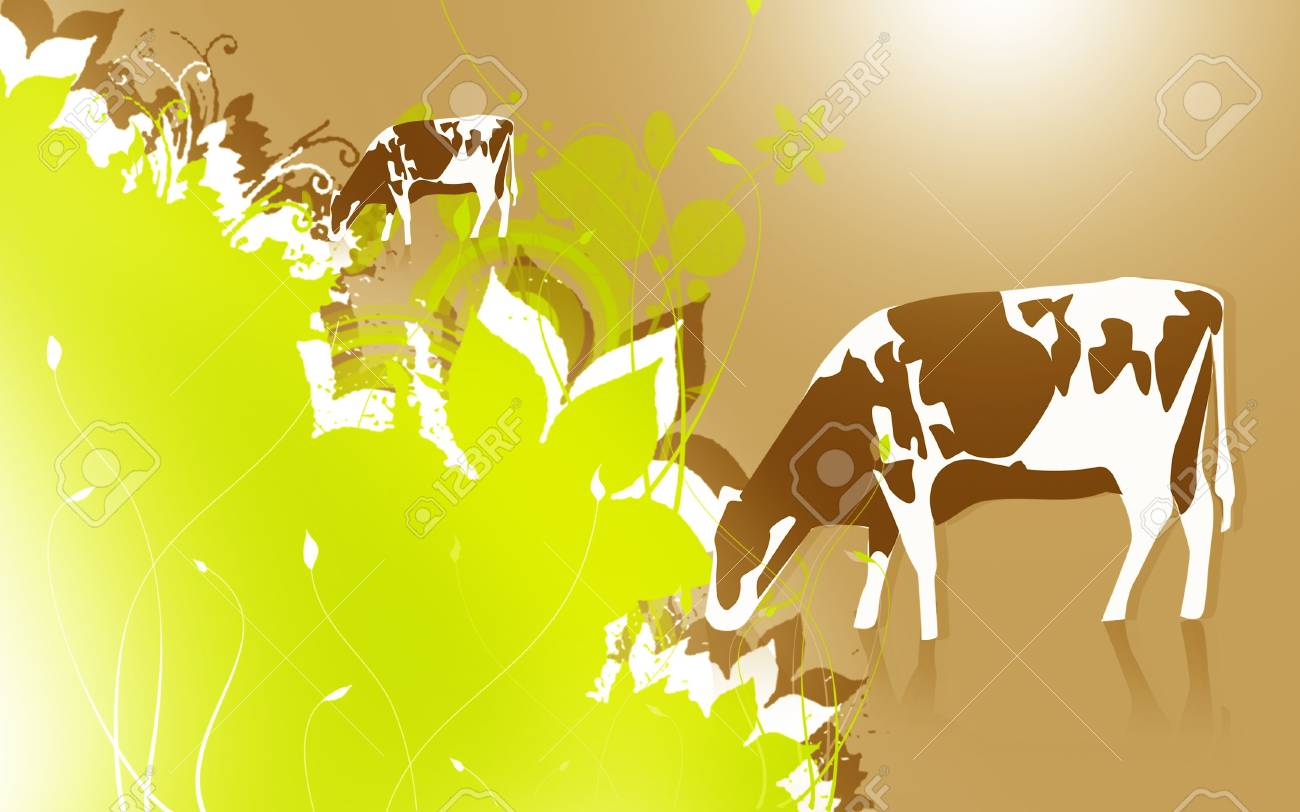 Illustration of a cow in eating grass Stock Illustration - 6324930