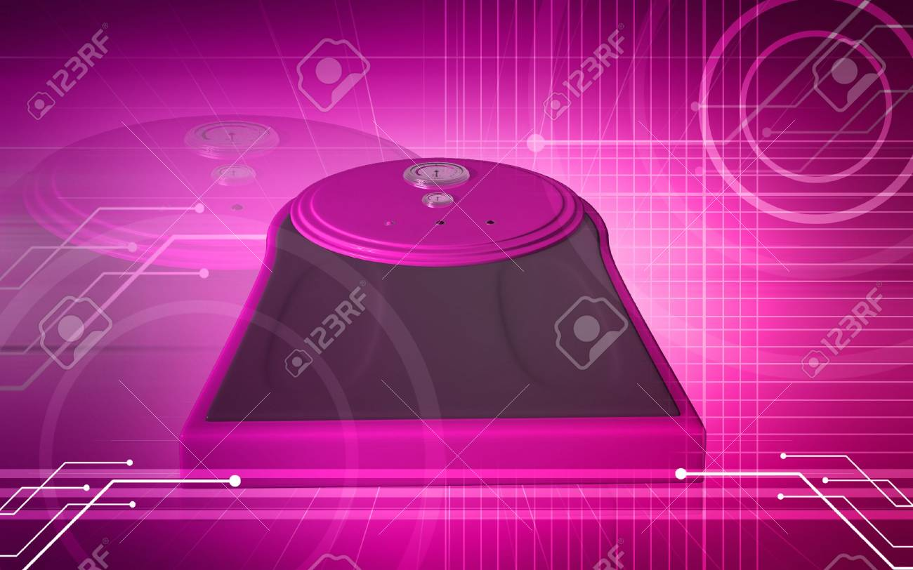 Digital illustration of weigh machine  in colour background Stock Illustration - 6686466