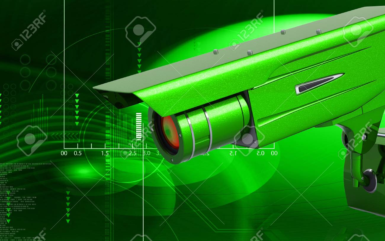 Digital illustration of security camera in colour background Stock Illustration - 6744053