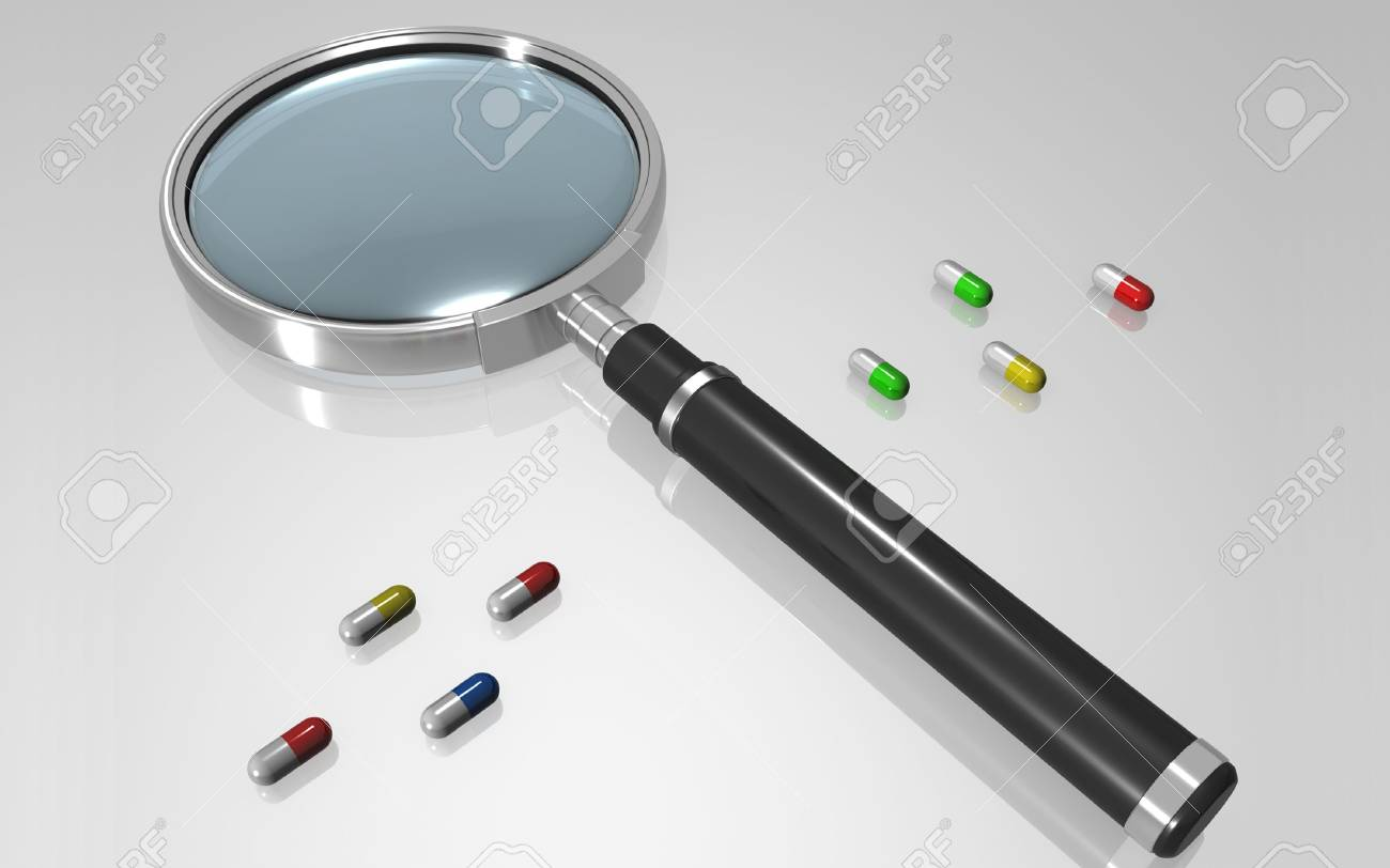 Digital illustration of a magnifying glass in colour background Stock Photo - 6744166