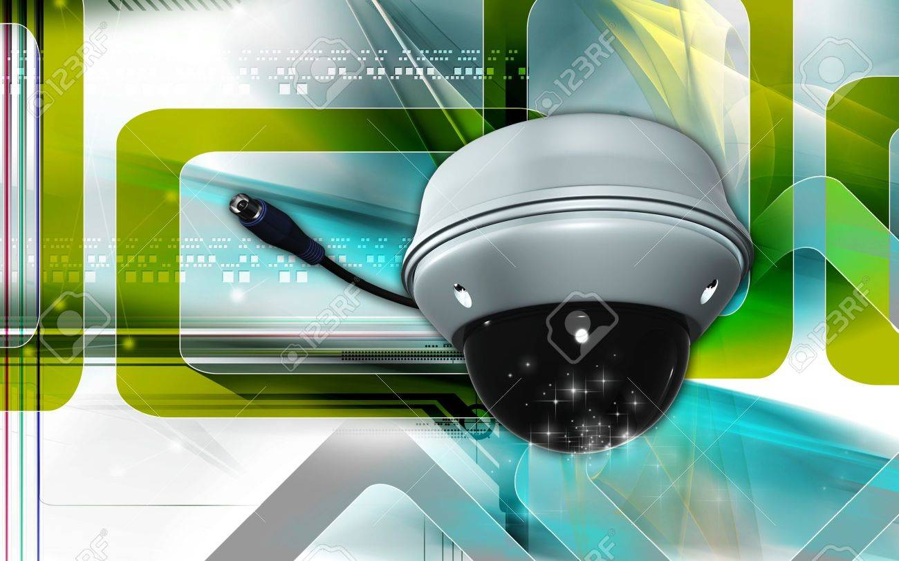 Digital illustration of security camera in colour background Stock Illustration - 7570226