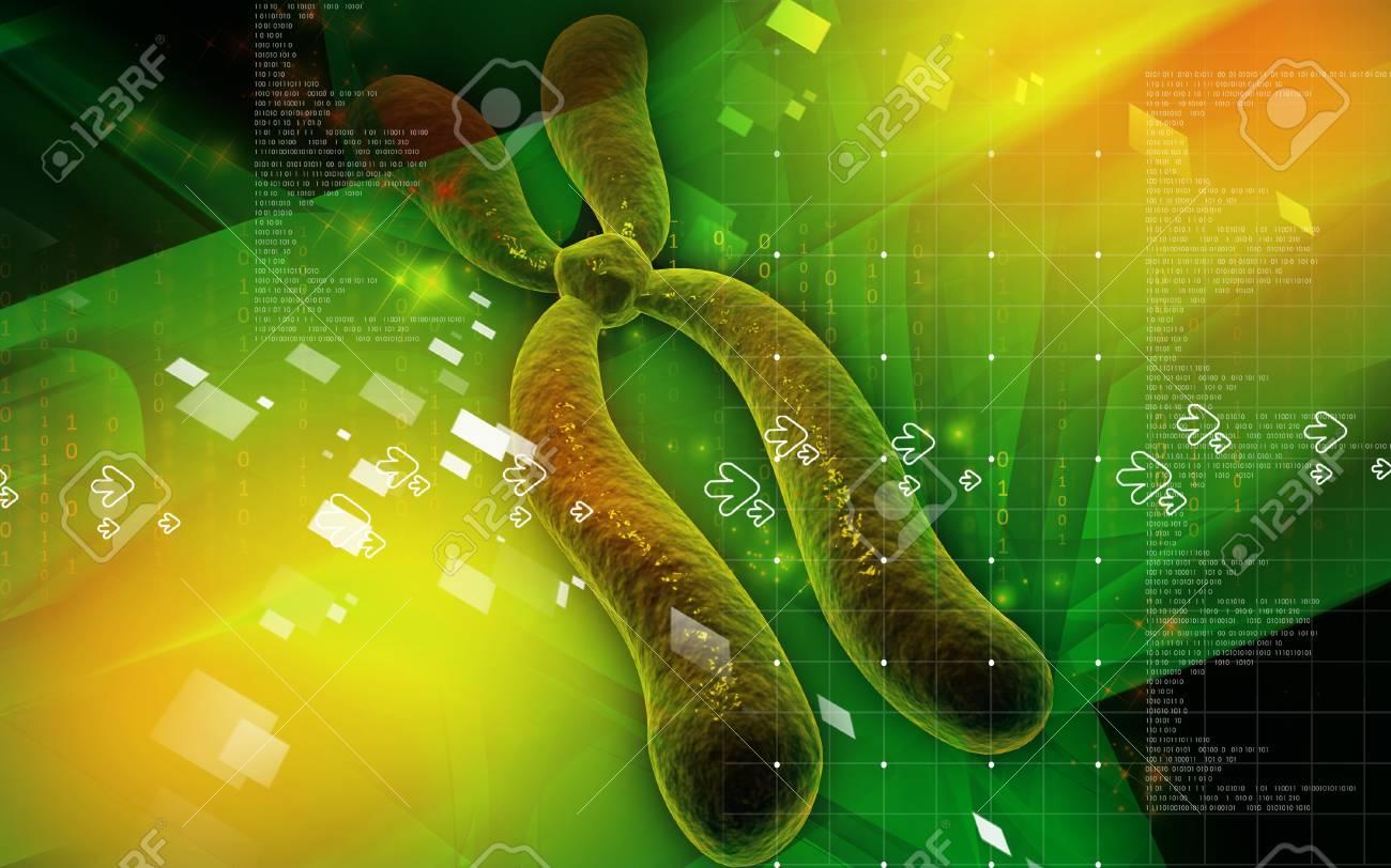 Digital illustration  of chromosome in   colour background Stock Illustration - 8663517
