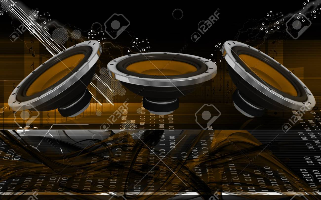 Digital illustration of car stereo in colour background Stock Photo - 20409898