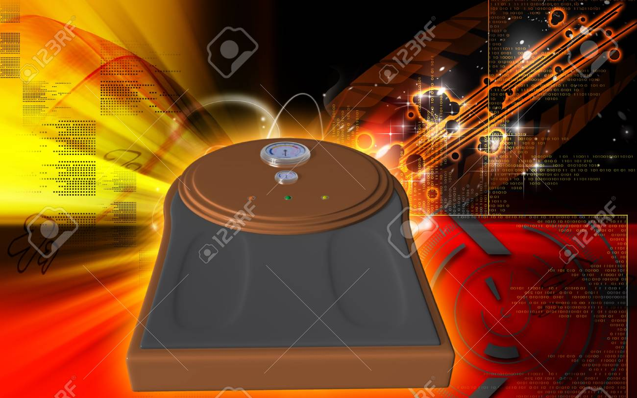 Digital illustration of weigh machine  in colour background Stock Illustration - 9382435