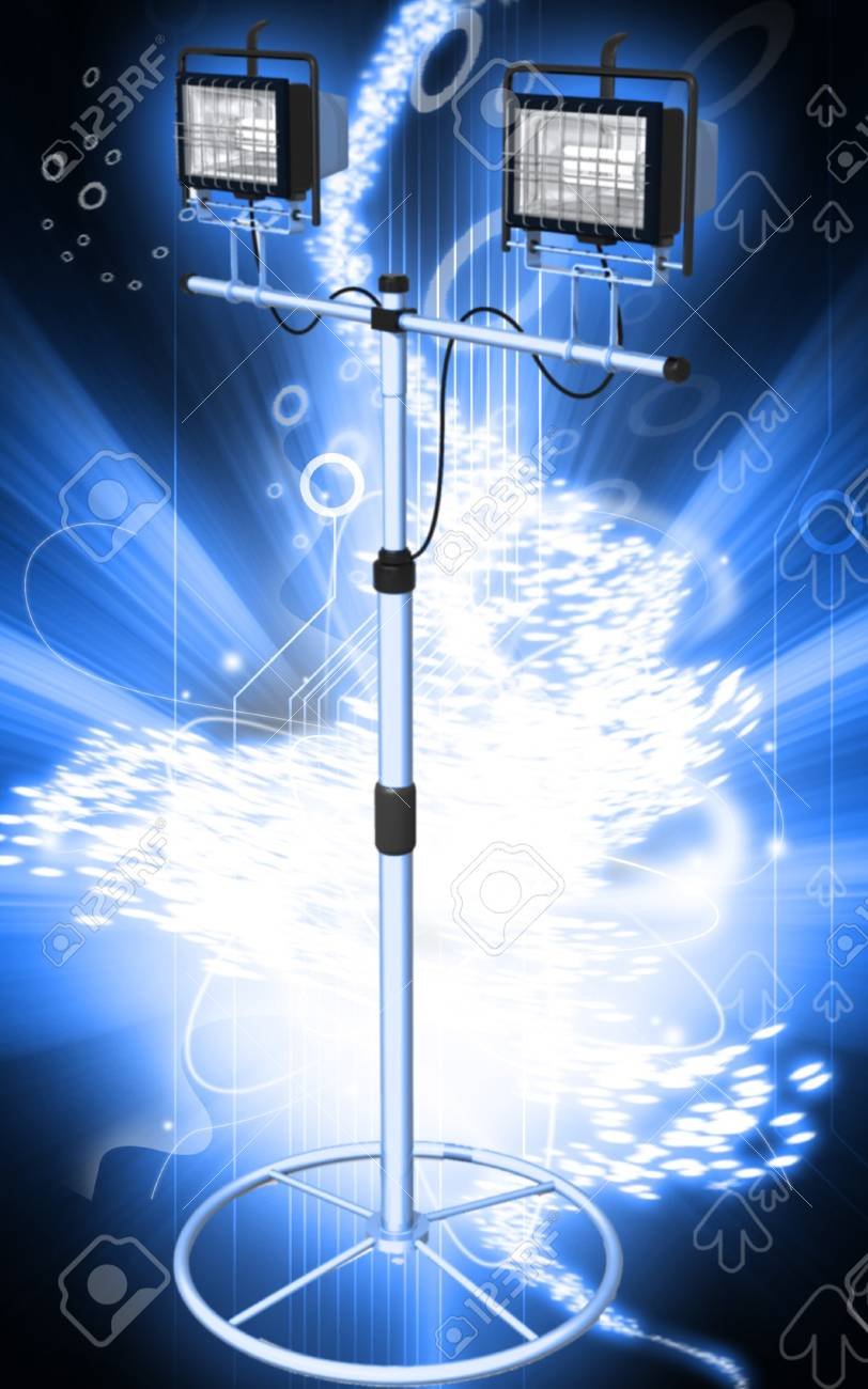Digital illustration of  a flood light in colour background Stock Illustration - 9582214