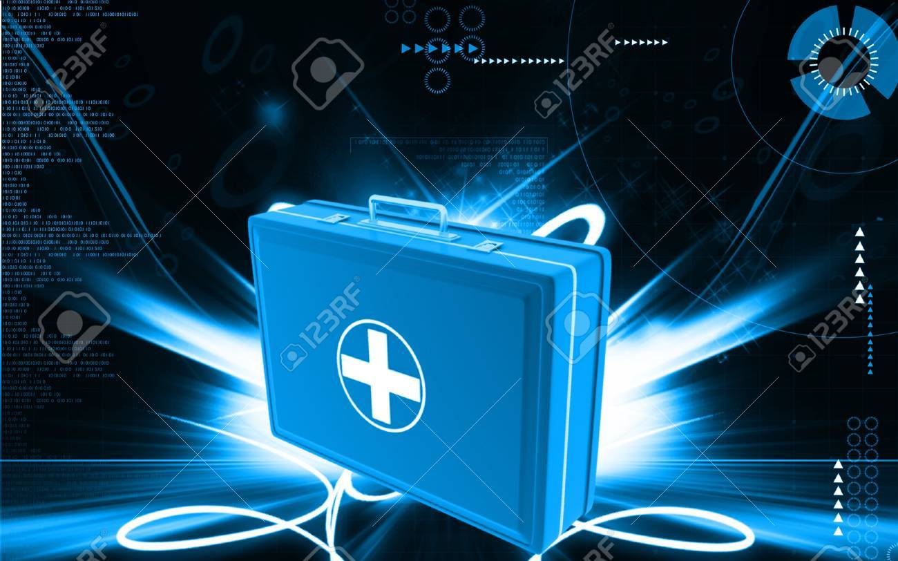 Digital illustration of First aid box  in colour background Stock Photo - 9625415