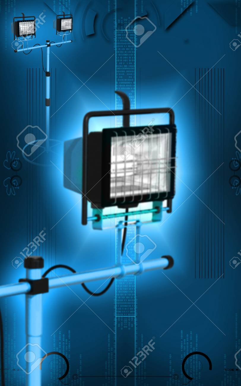 Digital illustration of  a flood light in colour background Stock Illustration - 10251870