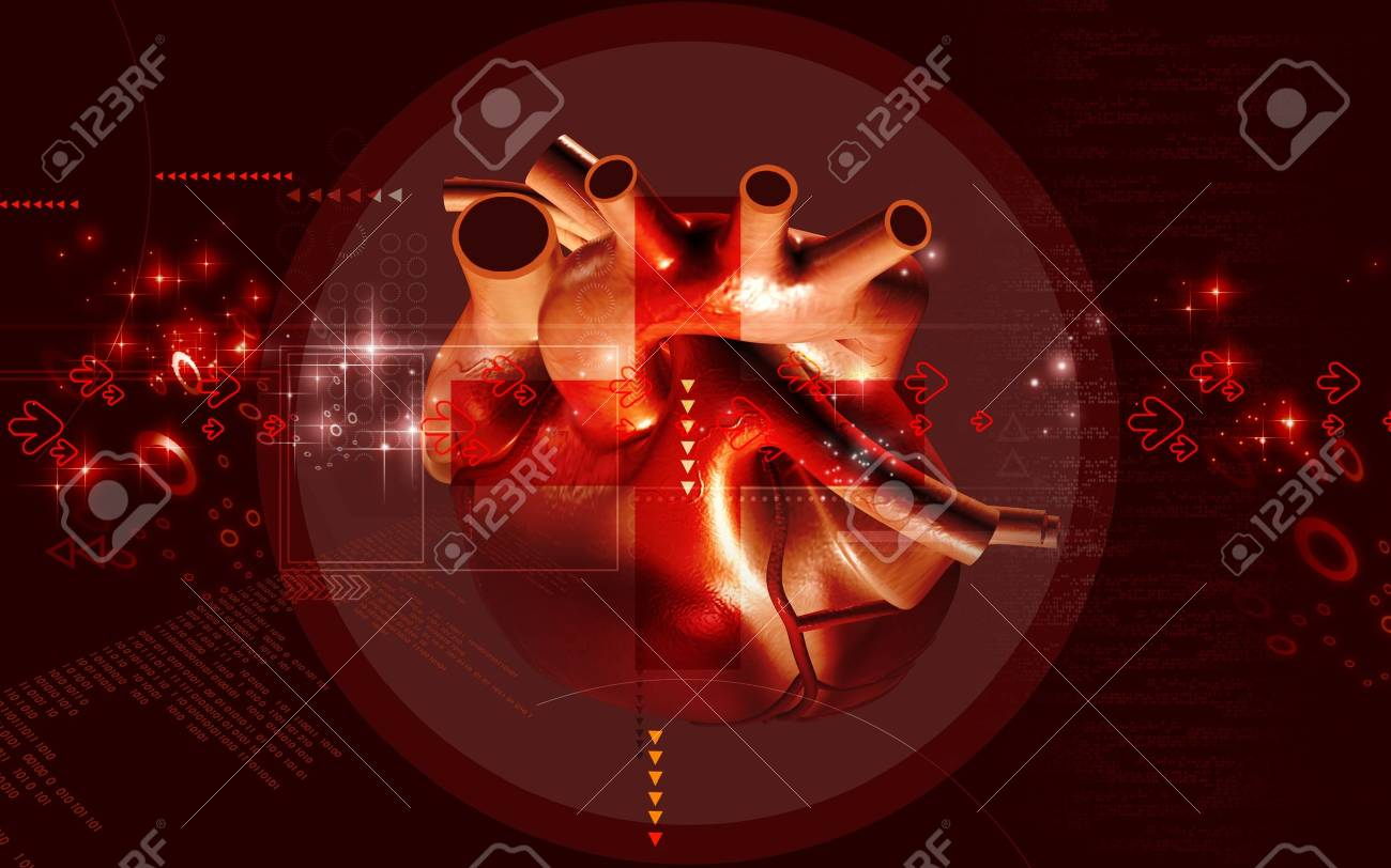 Digital illustration of  heart  in  colour  background Stock Photo - 10295770
