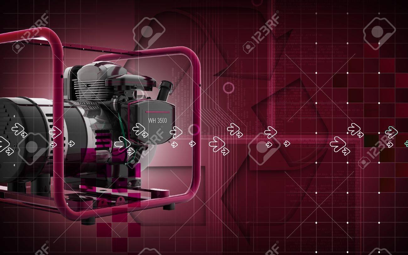Digital illustration of a generator  in colour background Stock Illustration - 10457877