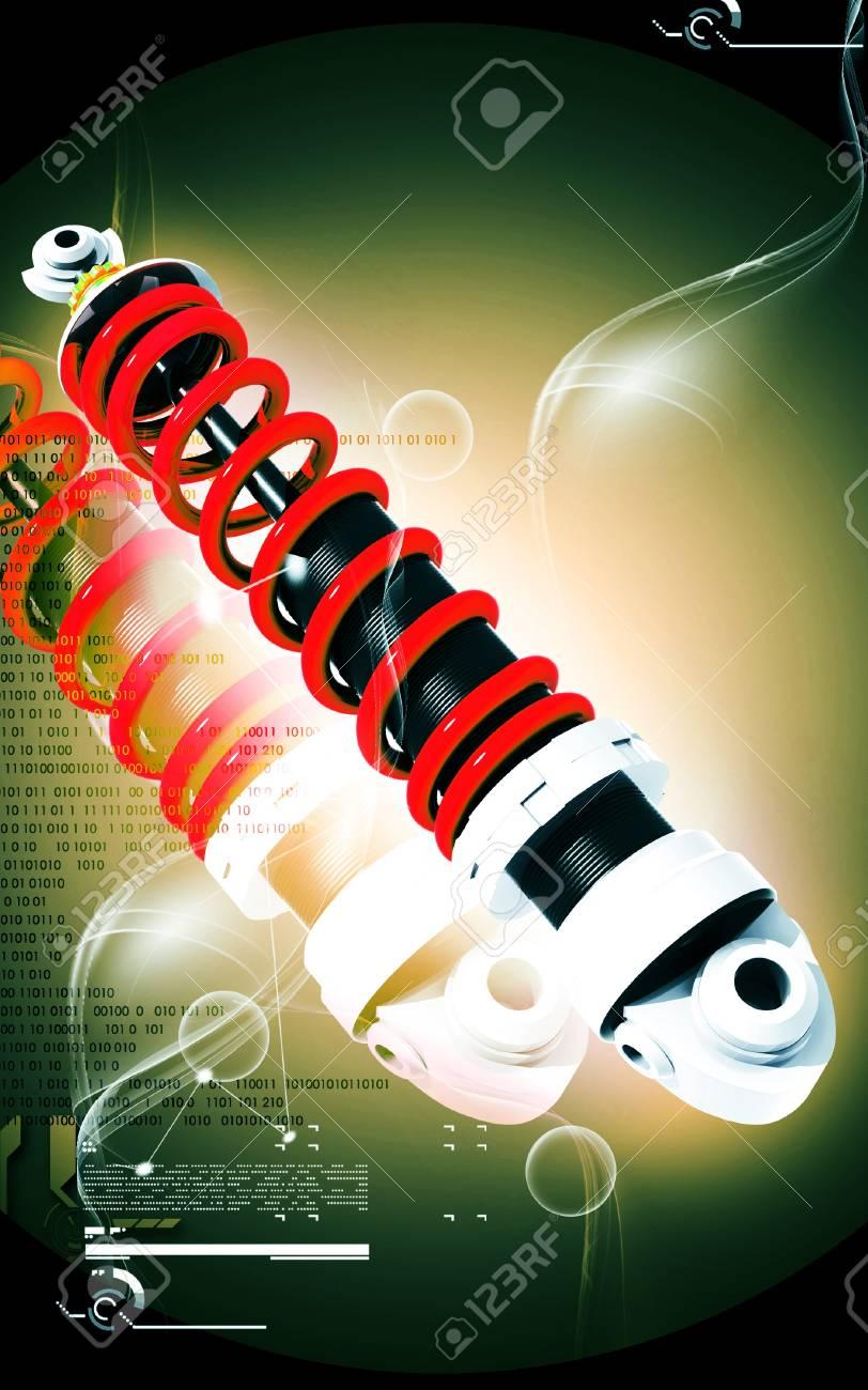 Digital illustration of Shock absorber in colour background Stock Illustration - 13619242