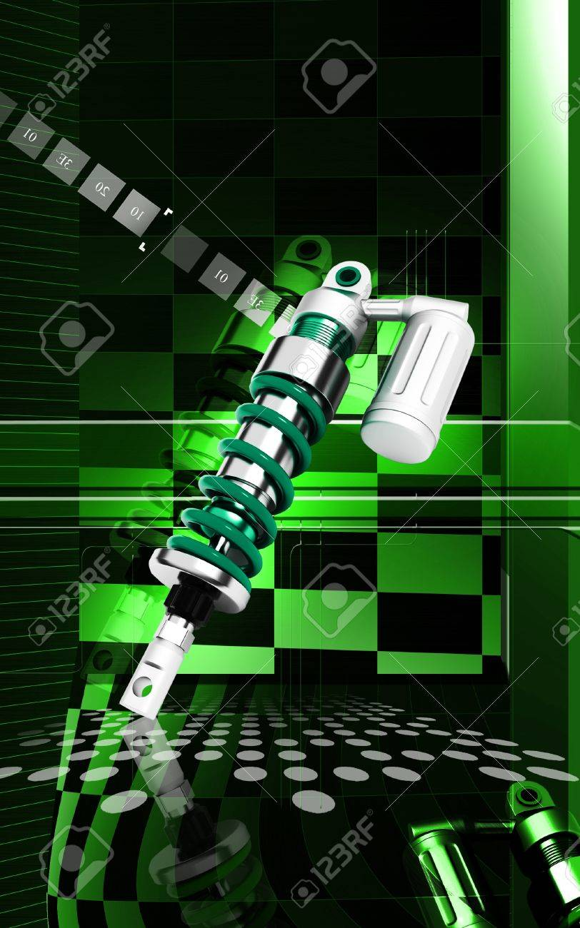 Digital illustration of Shock absorber in colour background Stock Photo - 13906585