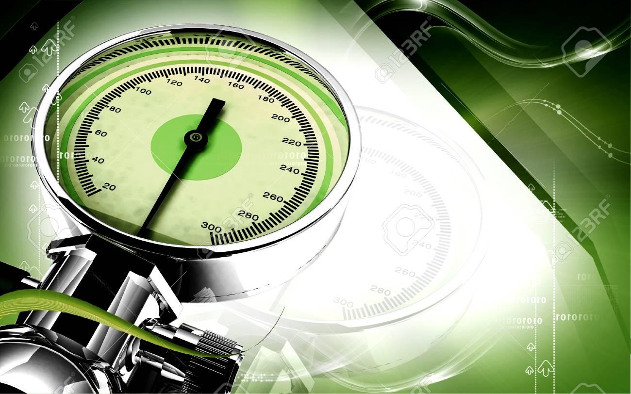 Digital illustration of sphygmomanometer in colour background Stock Photo - 15393193