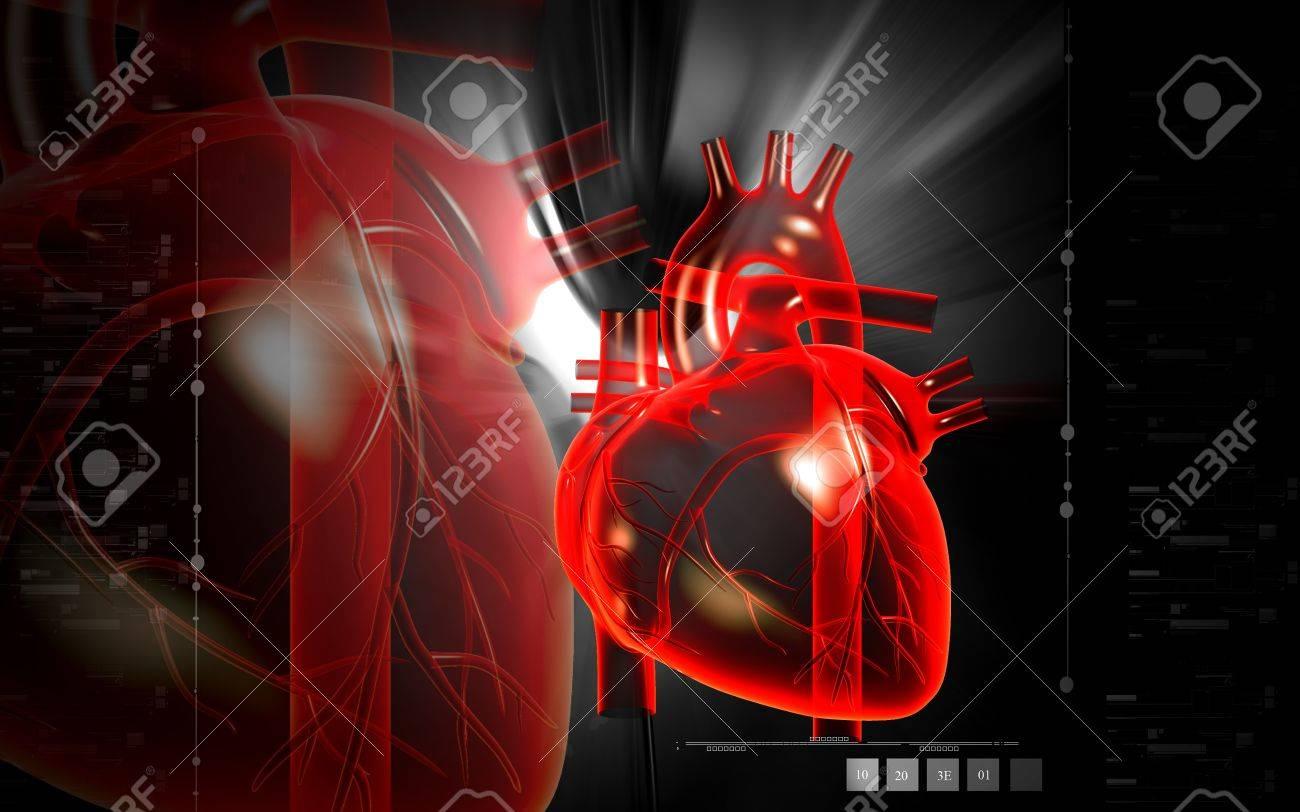 Digital illustration of  heart  in  colour  background Stock Illustration - 15470378
