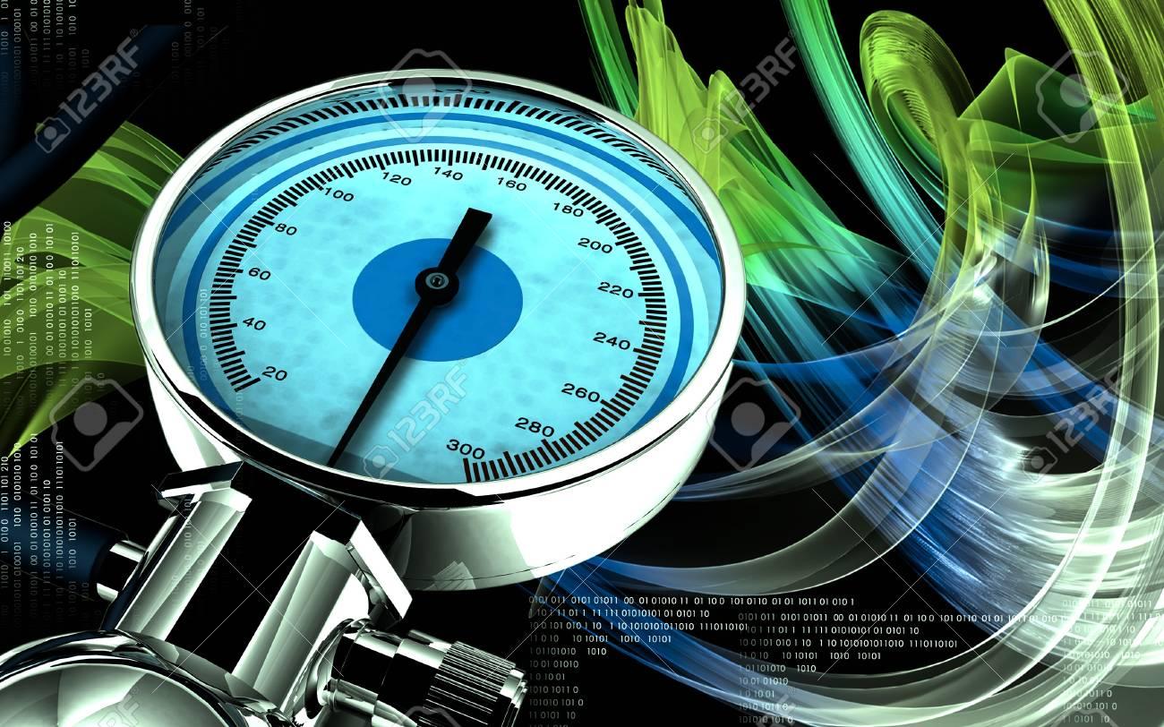 Digital illustration of sphygmomanometer in colour background Stock Photo - 16485860