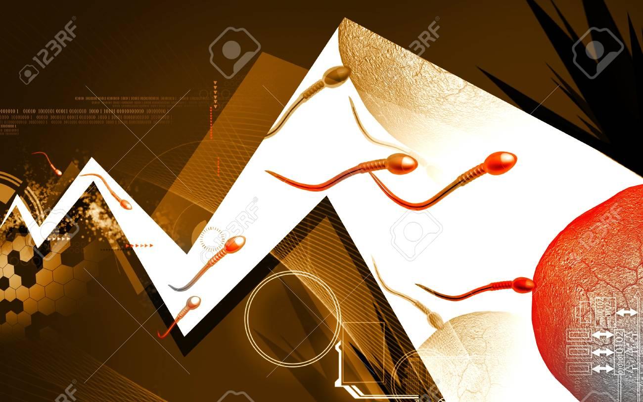 Digital illustration of  sperm  in colour  background Stock Illustration - 16697013