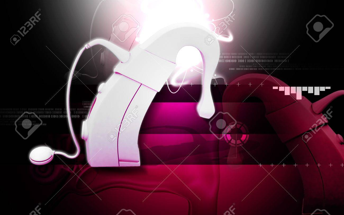 Digital illustration of  Cochlear implant in  colour  background Stock Illustration - 16696999