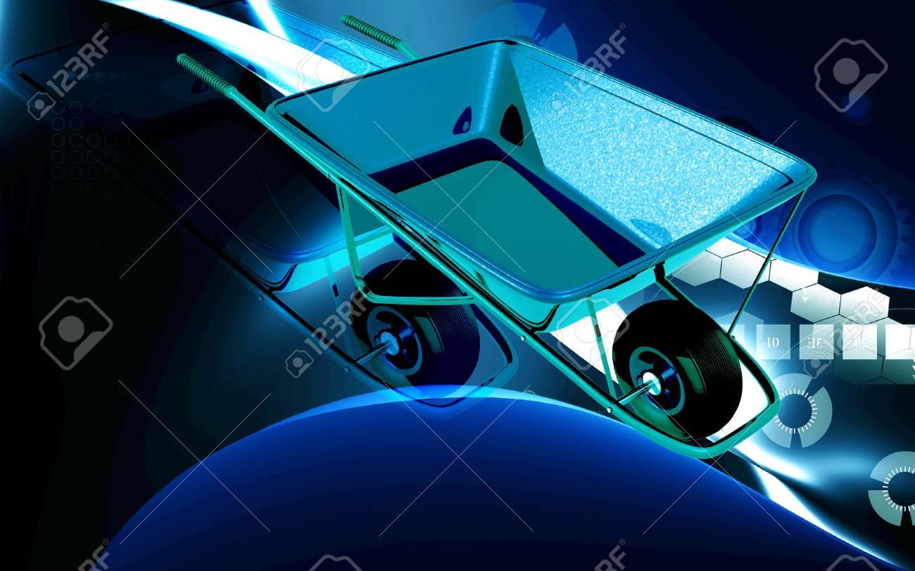 Digital illustration of metal tray wheel barrow in colour background Stock Illustration - 17073839
