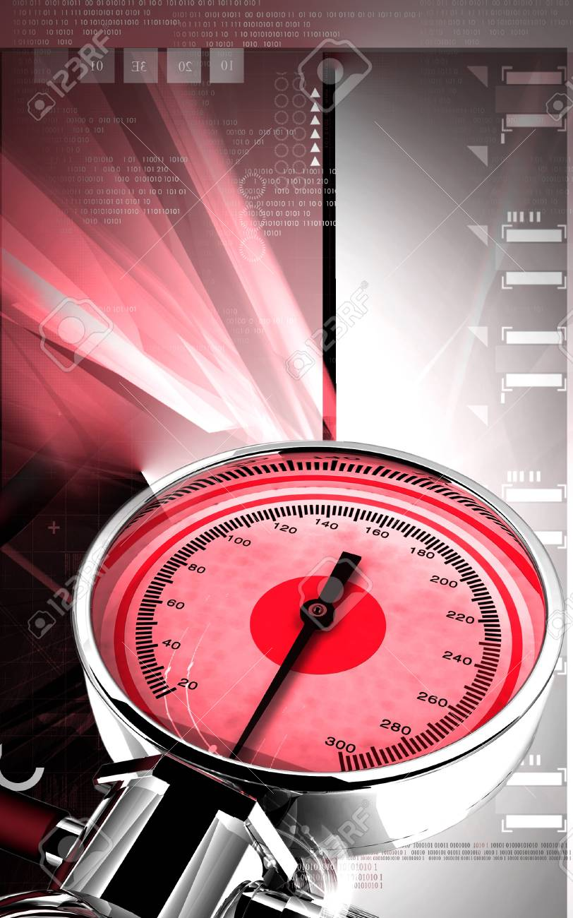 Digital illustration of sphygmomanometer in colour background Stock Illustration - 17433260