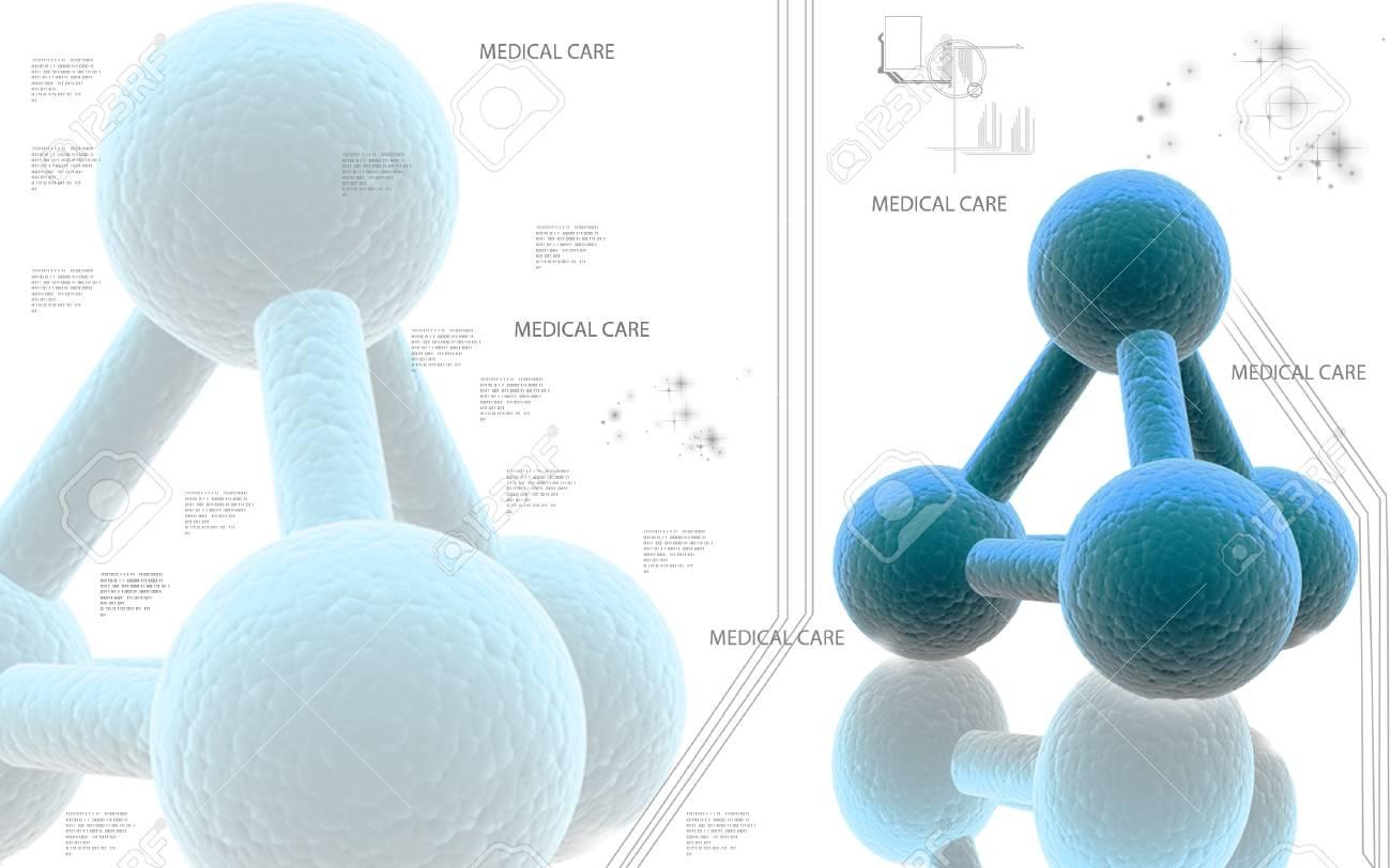 Digital illustration of molecules in colour background - 52107494