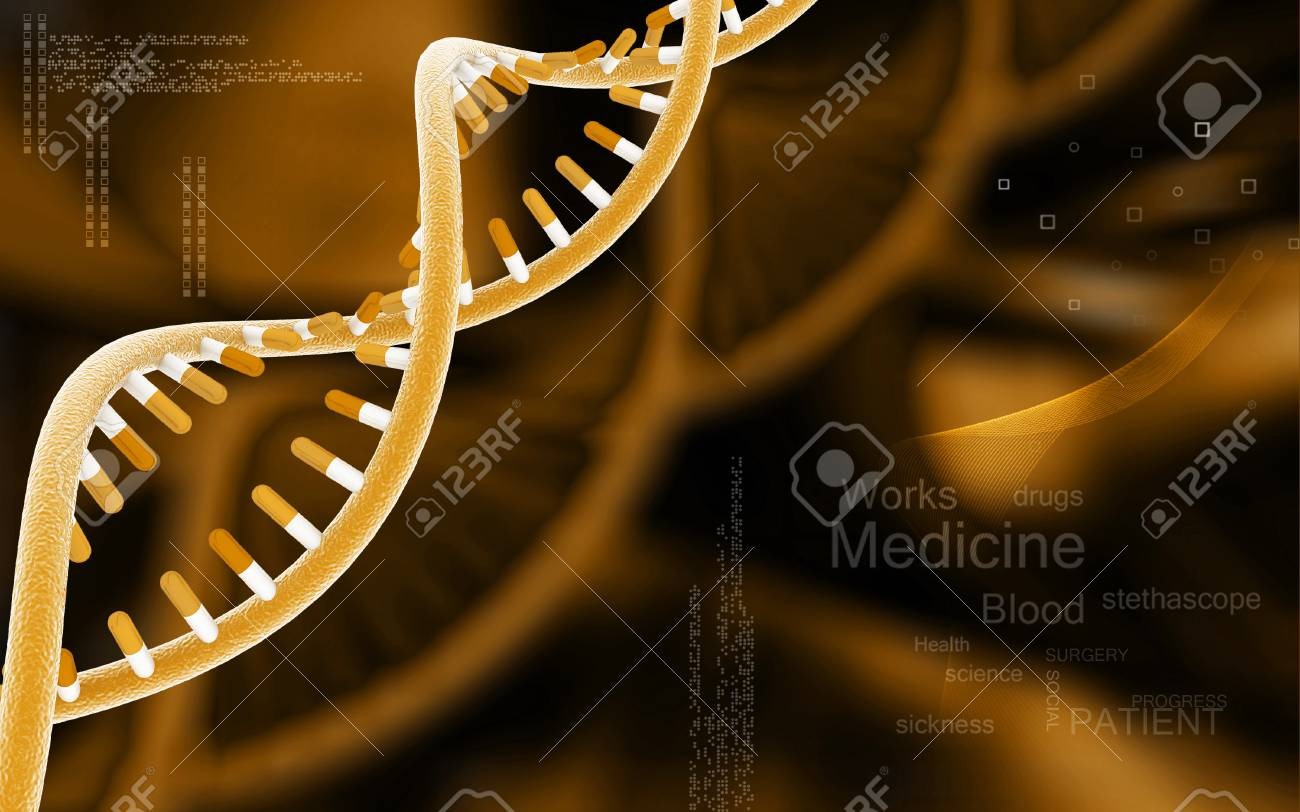 Digital illustration DNA structure in colour background - 52506670