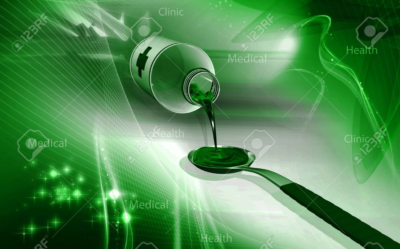 Digital illustration of medicine with spoon in colour background - 52796509