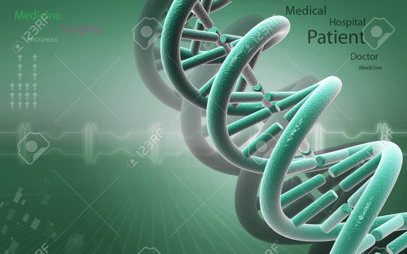 Digital illustration DNA structure in colour background - 53266141