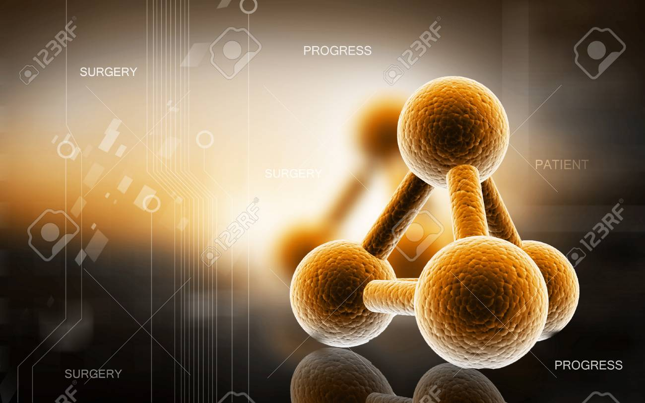 Digital illustration of molecules in colour background - 53266186