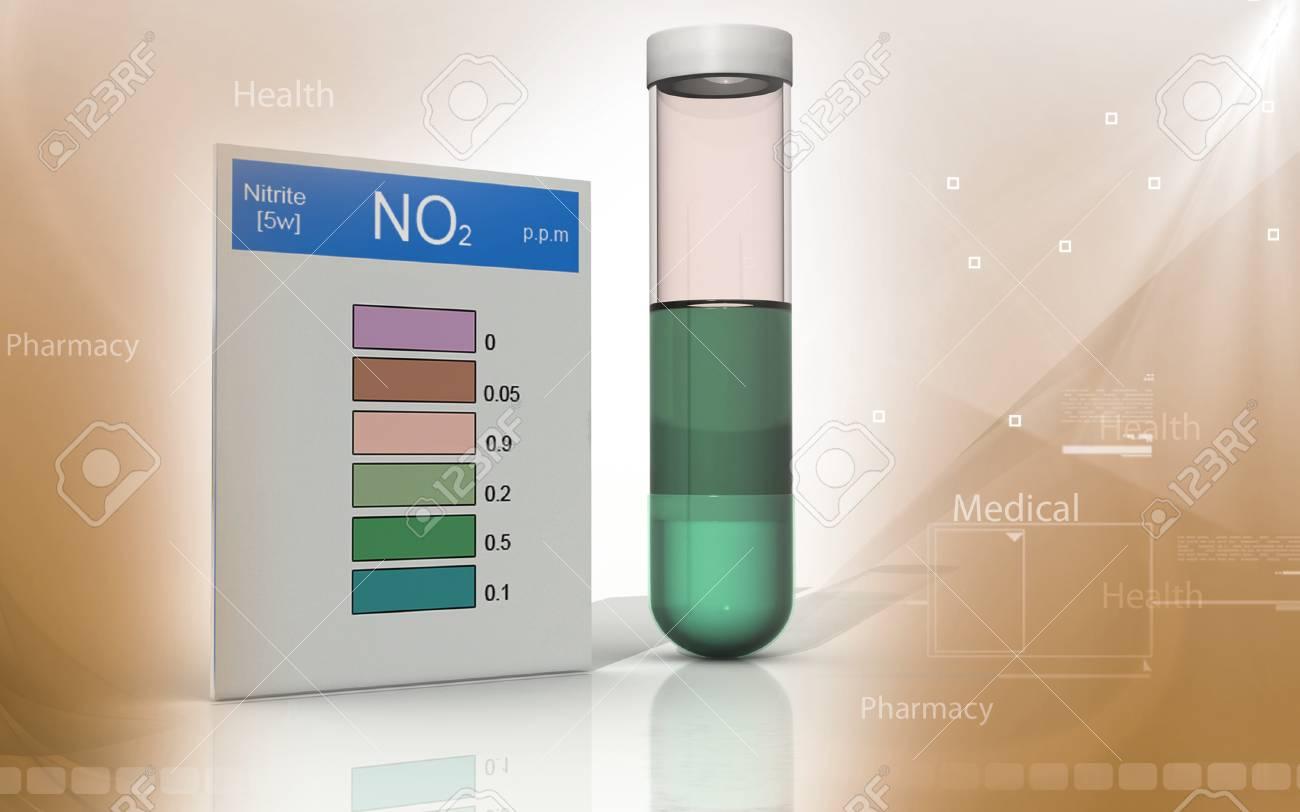 Digital illustration of nitrite test in colour background - 53266190