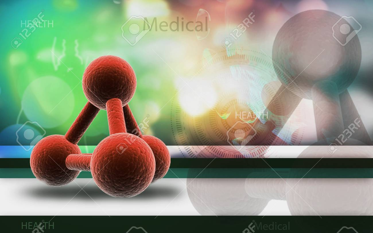 Digital illustration of molecules in colour background - 53665338