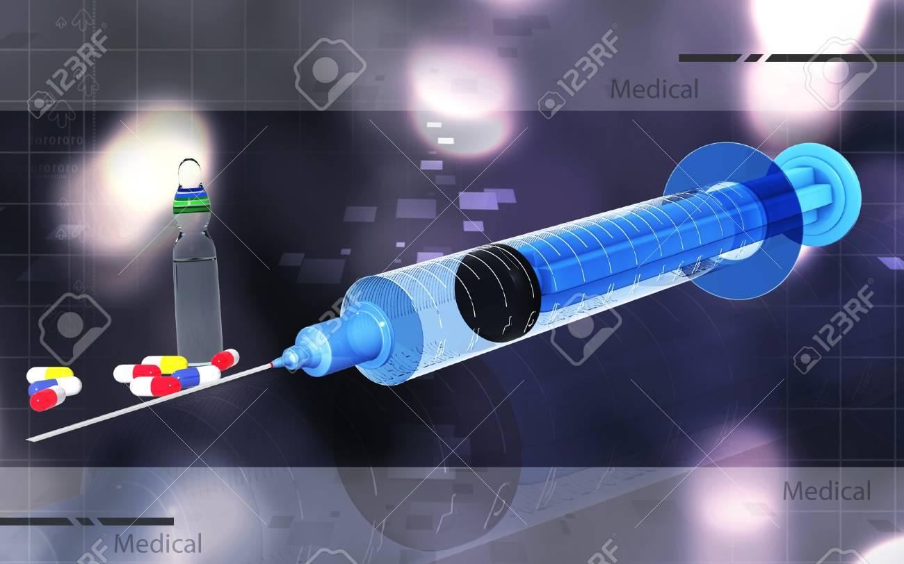 Digital illustration of syringe in colour background - 53745860
