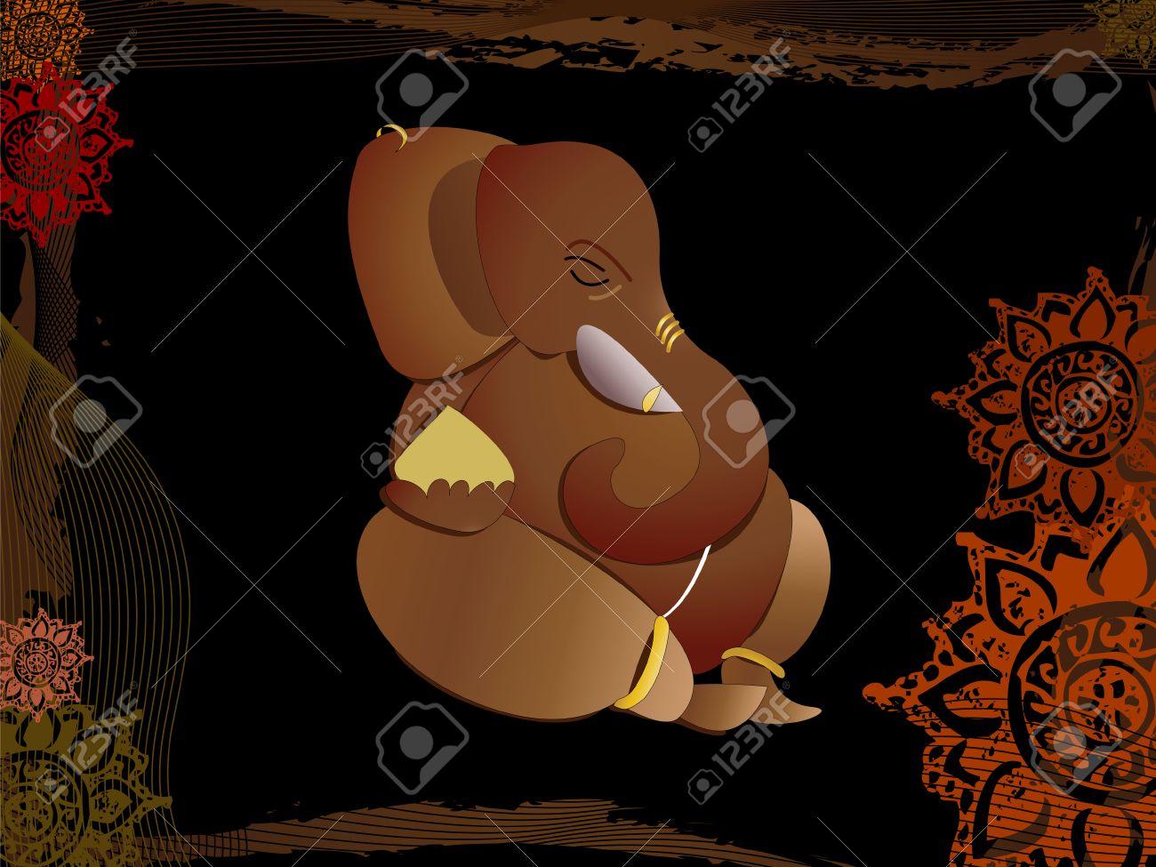 Hindu god ganesh on abstract background Stock Vector - 3293052
