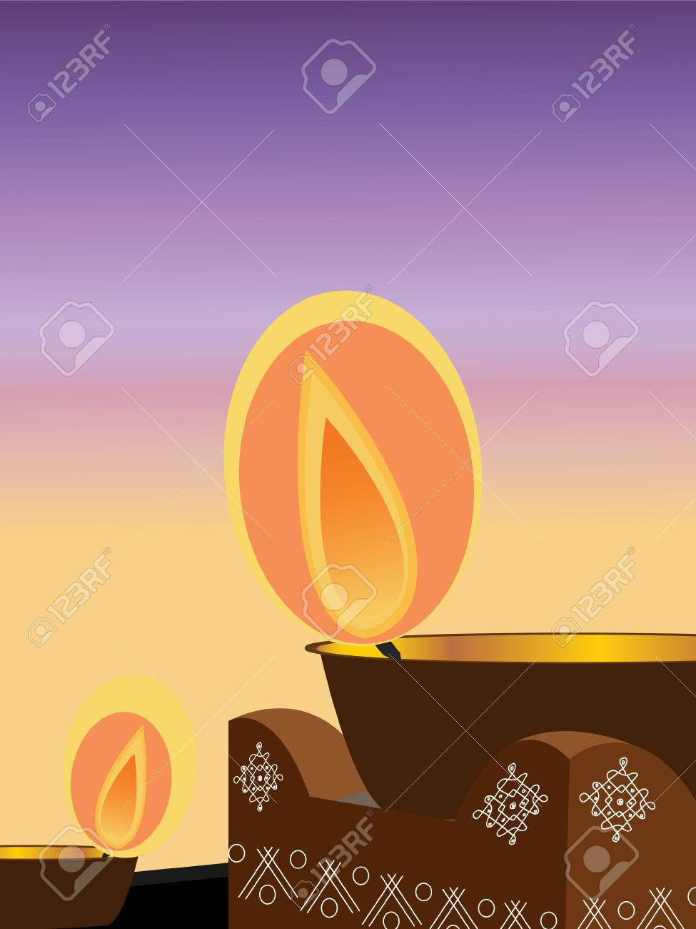 Illustration Of An Earthen Lamp Lit During The Hindu Festival ... for Earthen Lamp Vector  165jwn
