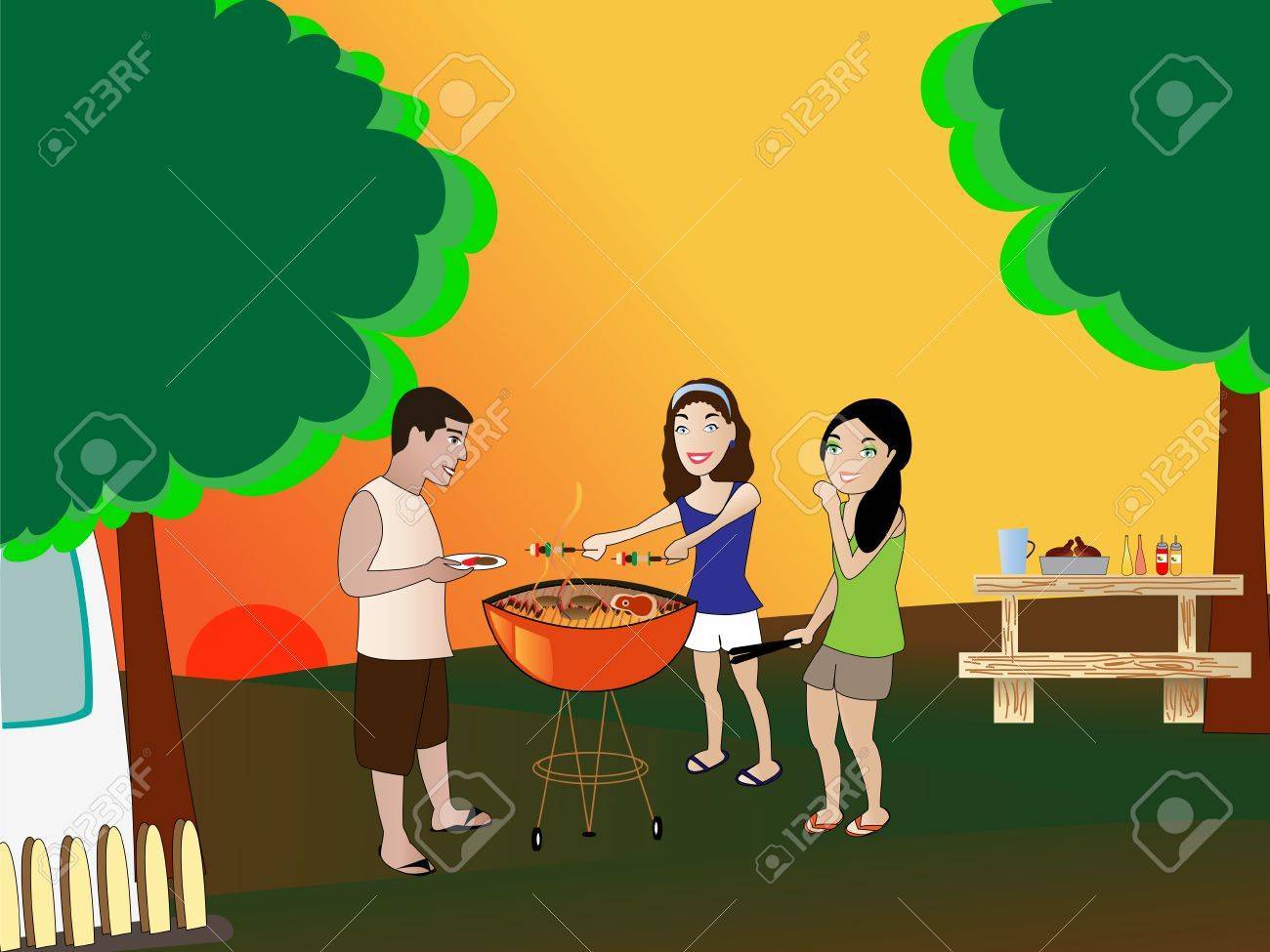 summer barbeque backyard scene royalty free cliparts vectors and
