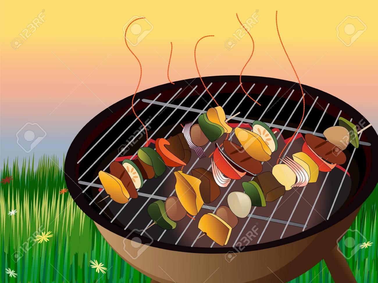 illustration of backyard bbq scene vegetables and meat on skewer