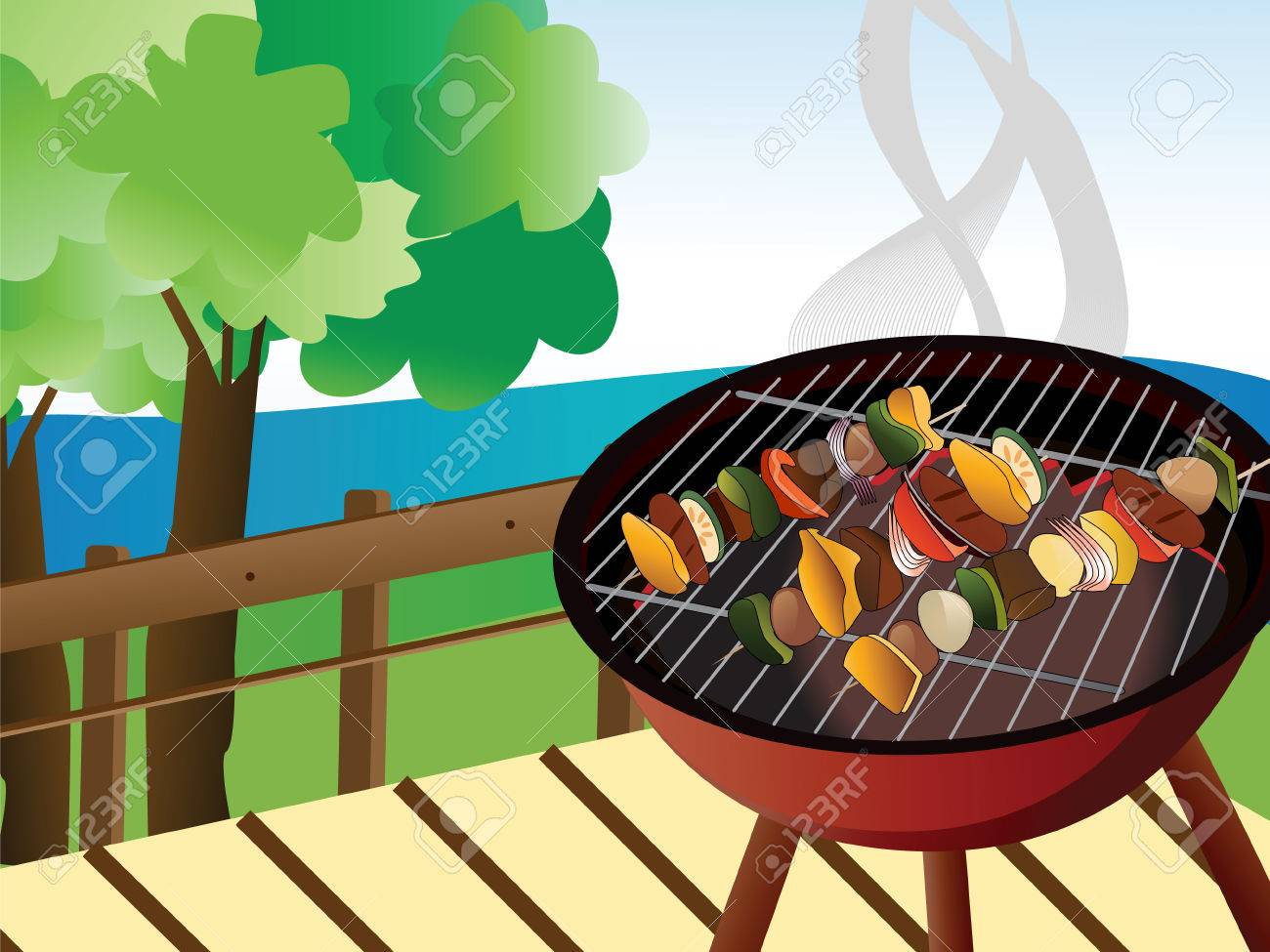 Illustration Of Backyard Bbq Scene Royalty Free Cliparts Vectors - Backyard bbq party cartoon