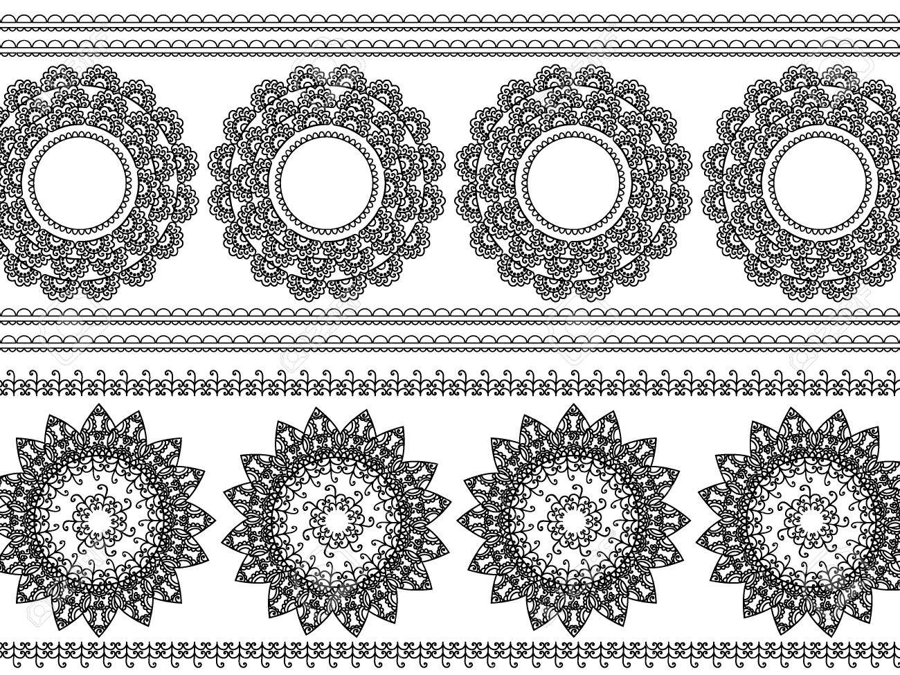 Detail Henna Inspired Border designs Stock Vector - 9180046