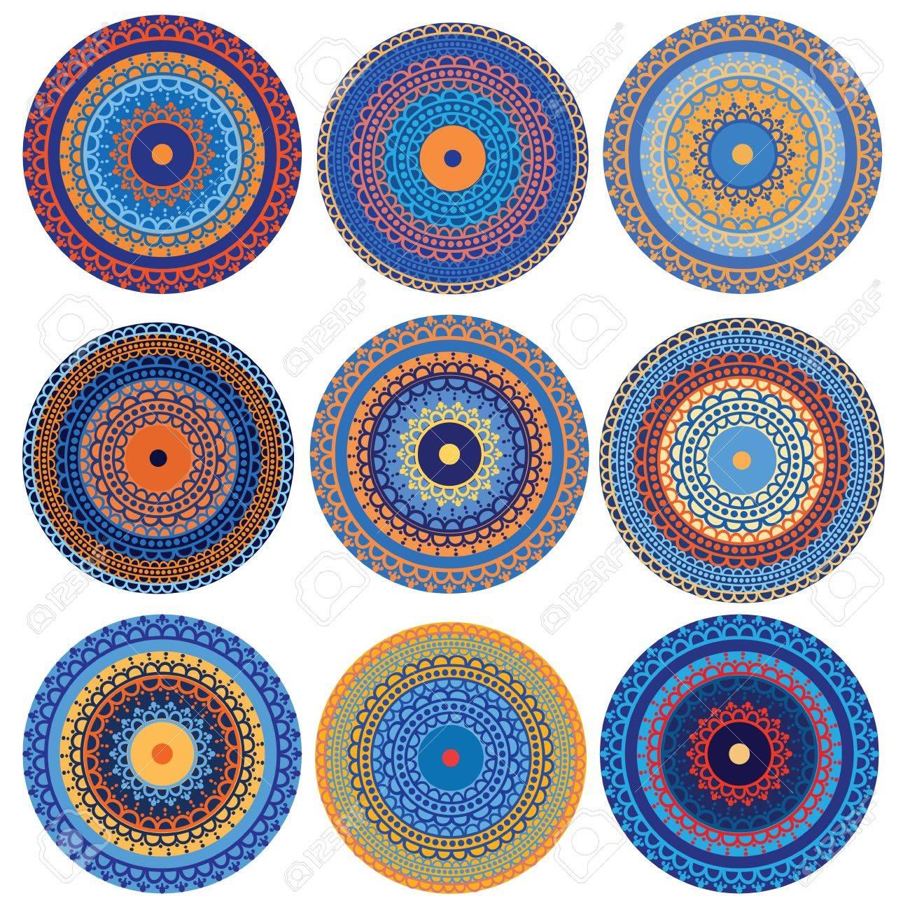 Colorful Henna Mandala design, very elaborate and easily editable Stock Vector - 10607177
