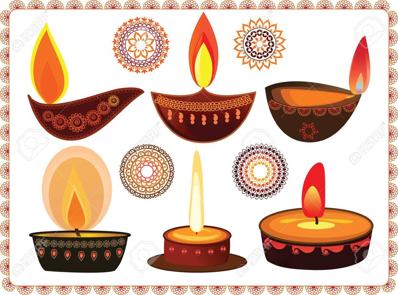 Vector Oil Lamp With Mandala Background Stock