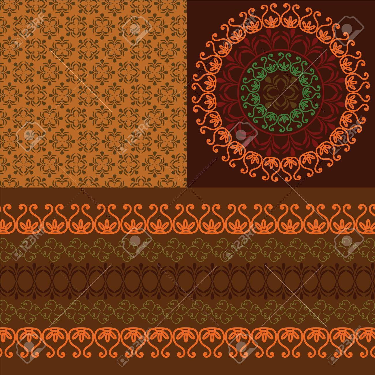 Colourful Henna Banners & borders Indian henna art inspired -very detailed and easily editable Stock Vector - 11095154