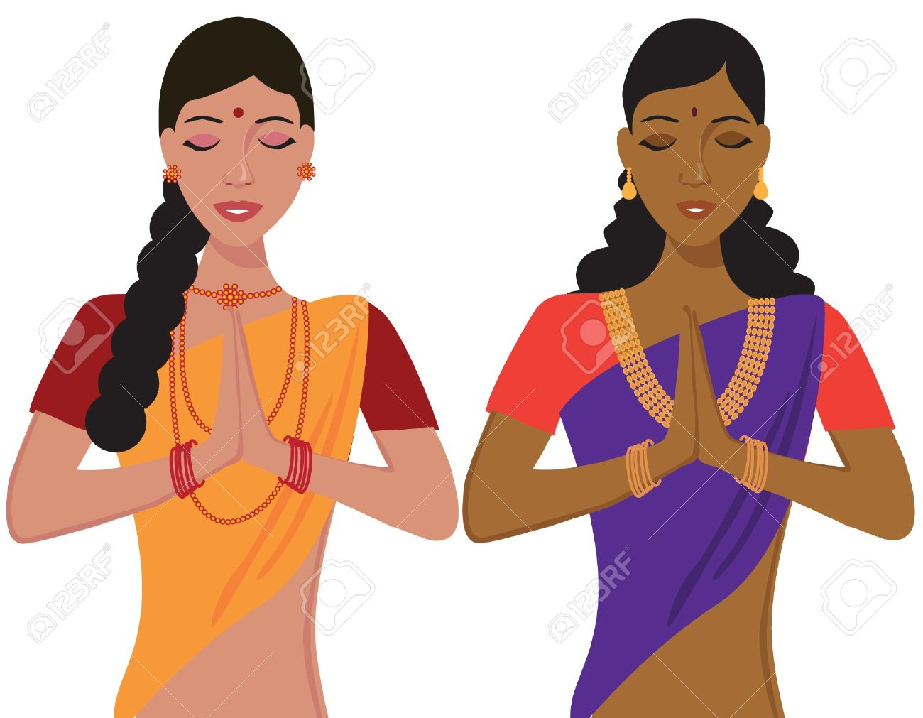 Young Indian Girl Greeting Namaste In Traditional Clothing Royalty