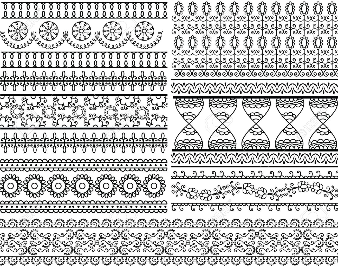 Very Detail Henna Art Inspired Border Designs Royalty Free Cliparts