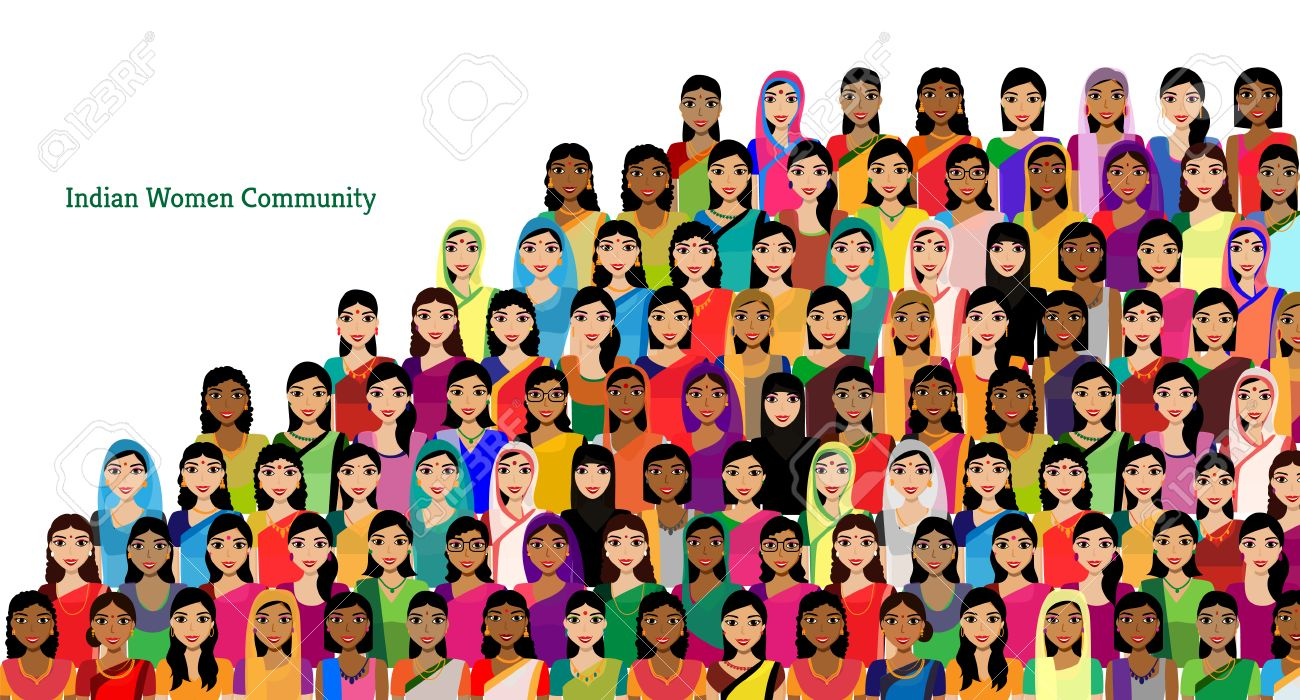 Big crowd of Indian women vector avatars - Indian woman representing different states/religions of India. Vector flat illustration of a crowd of women from diverse ethnic backgrounds - 56832959
