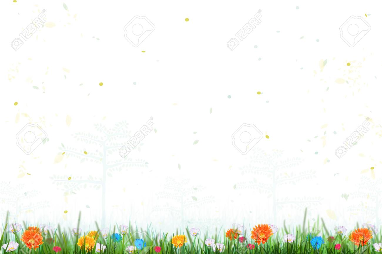 春の時間の花畑ときれいな水で蝶 自然な夏の花の壁紙 の写真素材