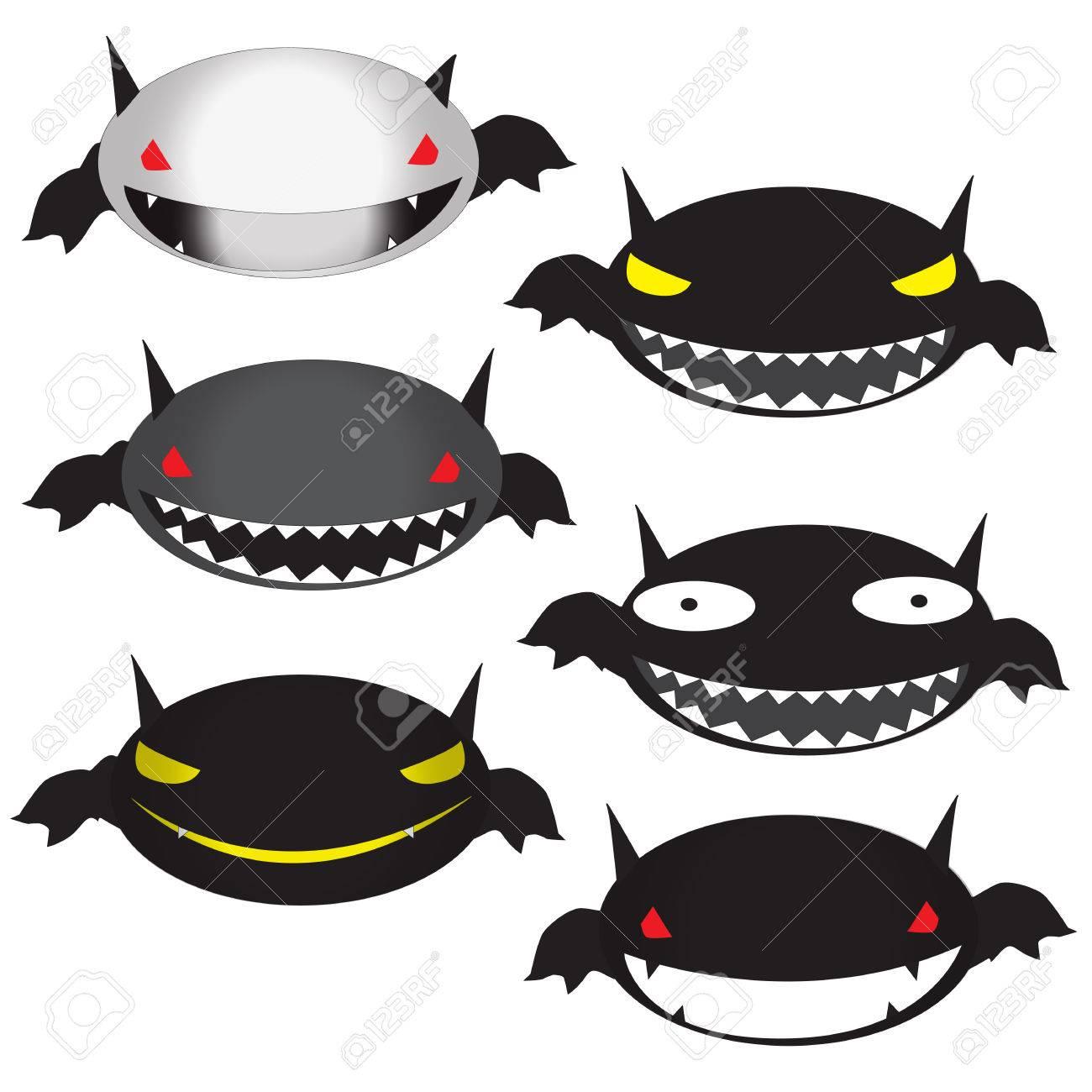 Set Of Funny Halloween Cartoons, Cute Bat Vector Illustration ...