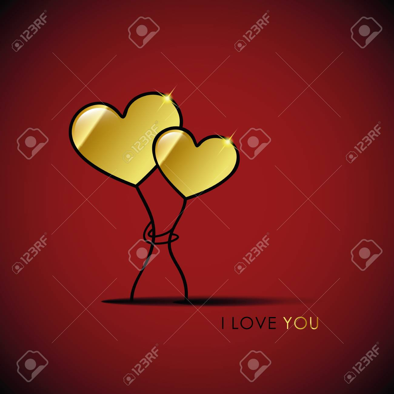 two golden hearts i love you vector illustration - 106231148
